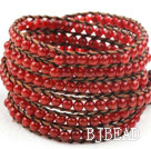 Long Style 4mm Natural Carnelian Wrap Bangle Bracelet with Brown Thread and Shell Clasp