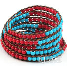 Long Style 4mm Round Coral and Turquoise Wrap Bangle Bracelet with Brown Thread and Shell Clasp