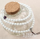 Natural White Sea Shell Pearl Prayer/ Rosary Bracelet with Sterling Silver Accessory ( can also be necklace )