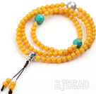 Imitation Amber Prayer Bracelet with Faceted Turquoise and Sterling Silver Accessory ( can also be necklace)