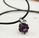 Amethyst Geode Pendant Necklace with Silver Plated Loster Clasp