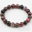 10-11mm Round Tourmaline Beaded Elastic Bangle Bracelet