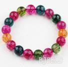 12mm Round Multi Color Natural Tourmaline Crystal Beaded Bangle Bracelet