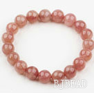 10mm Round Pink Strawberry Quartz Beaded Elastic Bangle Bracelet