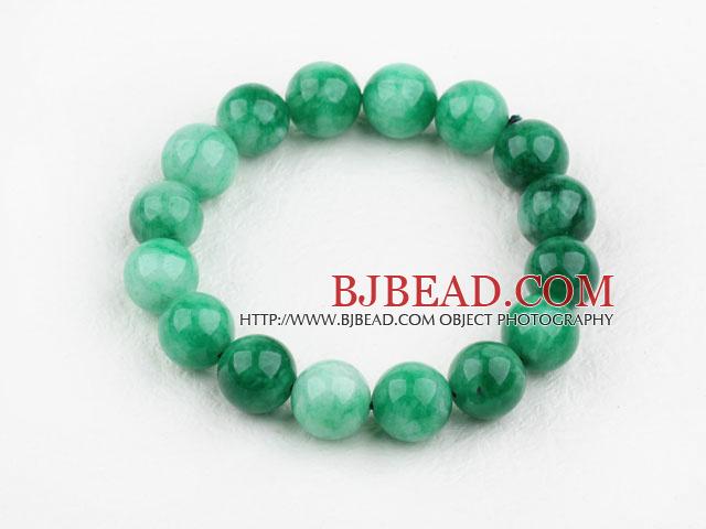 12mm Round Natural Malaysia Jade Elastic Bangle Bracelet