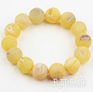 14mm Candy Color Crystallized Agate Beaded Elastic Bangle Bracelet