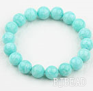 Light Green Color Amazonite Beaded Elastic Bangle Bracelet