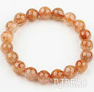 10mm Round Natural Copper Rutilated Quartz Beaded Elastic Bangle Bracelet