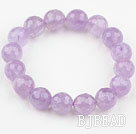 12mm Faceted Natural Amethyst Beaded Elastic Bangle Bracelet