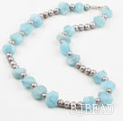 Incidence Angle Shape Aquamarine and Gray Freshwater Pearl Necklace