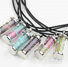 Multi Color Natural Stone Chips Wishing Bottle Pendant Necklace