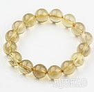 12mm Natural Lemon Quartz Beaded Elastic Bangle Bracelet