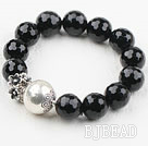 Natural Black Agate Beaded Elastisk Armbånd...