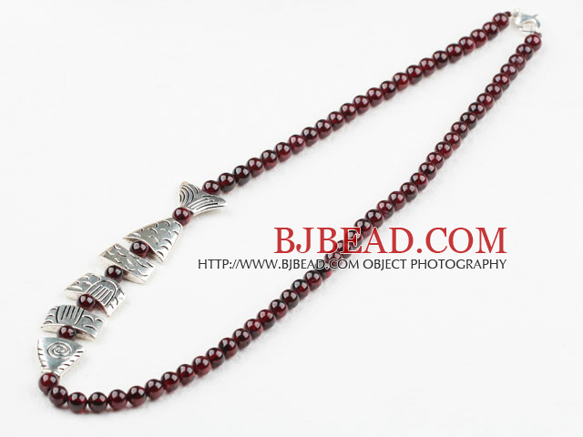 Wine Red Color Natural Garnet Necklace with Sterling Silver Clasp and Tibet Silver Fish Accessories