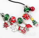 Fashion Style rojo y verde esmalte de color Navidad / Christmas Charm Necklace