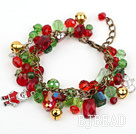 Fashion Style Assorted Red and Green Crystal Xmas / Christmas Charm Bracelet