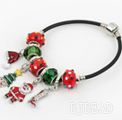 Fashion Style Red Colored Glaze Xmas / Christmas Charm Bracelet