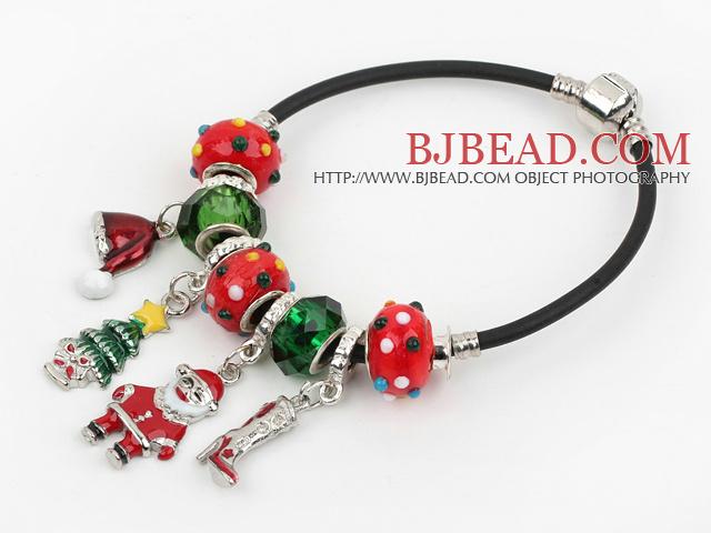 Fashion Style Red Colored Glaze Xmas / Christmas Charm Bracelet