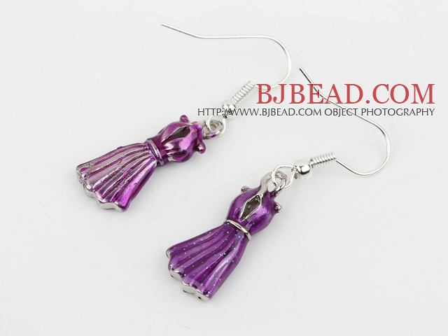 Fashion Style Purple Formal Dress Shape Charm Earrings
