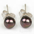 Classic Design 4-4.5mm Black Freshwater Pearl Studs Earrings