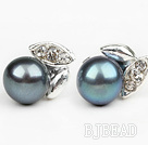 Fashion Style 6-7mm Natural Black Freshwater Pearl Studs Earrings with Leaf Shape Rhinestone