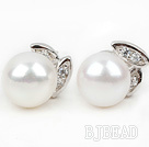 Fashion Style 9-10mm Natural White Freshwater Pearl Studs Earrings with Rhinestone Accessories