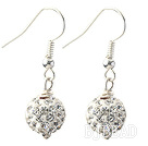 Classic and Simple Design 10mm White Round Rhinestone Ball Earrings