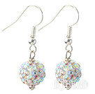 Classic and Simple Design 10mm White with Colorful Round Rhinestone Ball Earrings