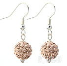 Classic and Simple Design 10mm Light Pink Round Rhinestone Ball Earrings