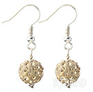 Classic and Simple Design 10mm Champagne Round Rhinestone Ball Earrings