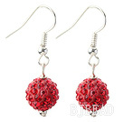 Classic and Simple Design 10mm Red Round Rhinestone Ball Earrings