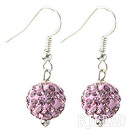 Classic and Simple Design 10mm Light Purple Round Rhinestone Ball Earrings