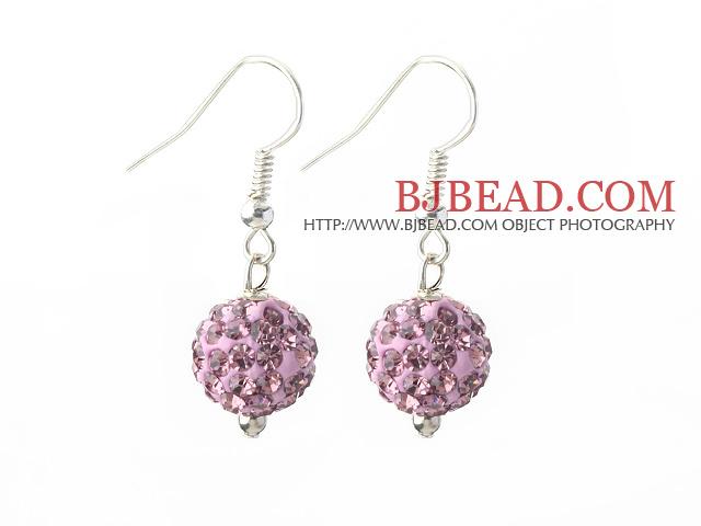 Classic and Simple Design 10mm Light Purple Round Rhinestone Ball Earrings