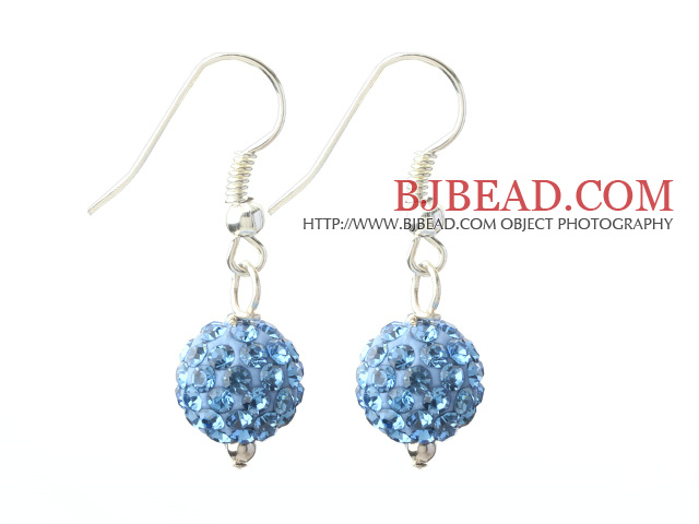 Classic and Simple Design 10mm Light Blue Round Rhinestone Ball Earrings