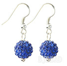 Classic and Simple Design 10mm Dark Blue Round Rhinestone Ball Earrings