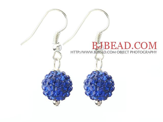 Classic and Simple Design 10mm Dark Blue Round Rhinestone Ball Earrings