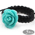 Lake Blue Color Imitation Turquoise Rose Flower Weaved Drawstring Adjustable Ring
