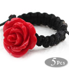 5 Pieces Red Color Imitation Turquoise Rose Flower Woven Drawstring Adjustable Ring under $ 40