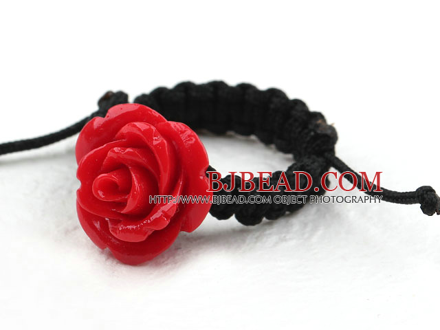 5 Pieces Red Color Imitation Turquoise Rose Flower Woven Drawstring Adjustable Ring