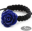 5 Pieces Dark Blue Color Imitation Turquoise Rose Flower Woven Drawstring Adjustable Ring