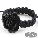 Black Imitation Turquoise Rose Flower Woven Drawstring Adjustable Ring
