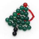 2013 Christmas Design Green Agate and Carnelian and Black Agate Christmas Tree Ring