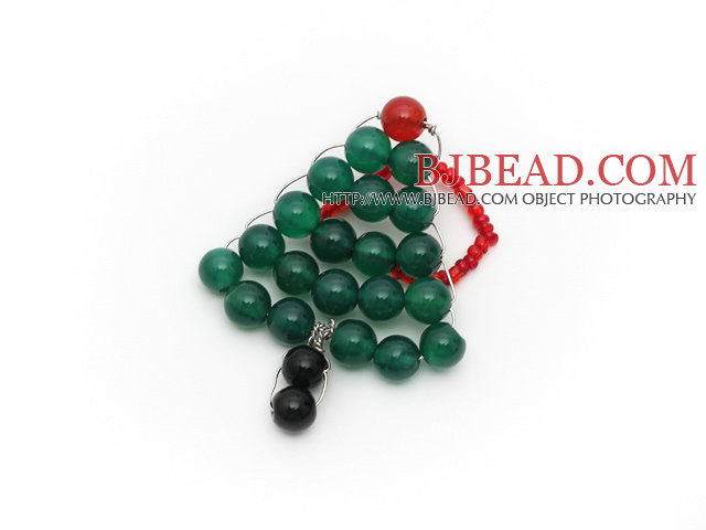 2014 Christmas Design Green Agate and Carnelian and Black Agate Christmas Tree Ring