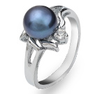 Fashion Natural 6-7mm Black Freshwater Pearl Ring With Charming Rhinestone