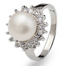 Classic Natural 8 - 9mm witte zoetwater parel Ring Met Charmante Steentjes