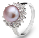 Classic Natural 8-9mm Purple Freshwater Pearl Ring With Charming Rhinestones
