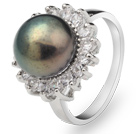 Classic Natural 8-9mm Black Freshwater Pearl Ring With Charming Rhinestones