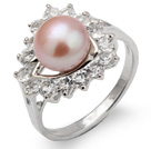 Fashion Natural 8-9mm Pink Freshwater Pearl Ring With Beautiful Rhinestone And Triangle Charm