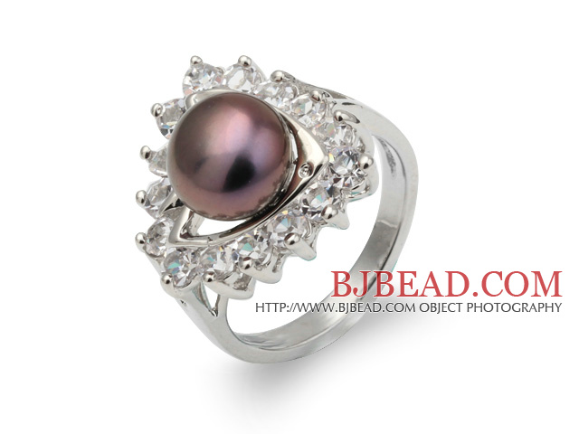 Fashion Natural 8-9mm Purple Freshwater Pearl Ring With Beautiful Rhinestone And Triangle Charm