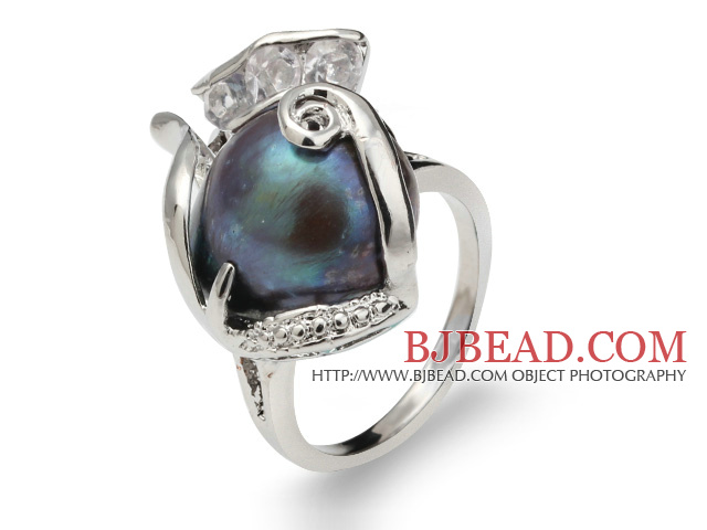 Fashion Natural 9-11mm Black Blister Pearl Ring With Charming Rhinestone